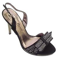 View Item BLACK DIAMANTE SATIN STRAPPY SANDALS SHOES SIZE 3-8